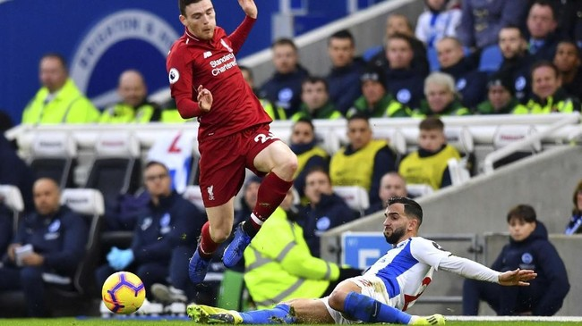 Liverpool menyambangi Stadion American Express Community dalam pekan ke-22 Liga Inggris 2018/2019. (REUTERS/Dylan Martinez)