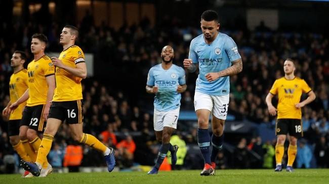 Gabriel Jesus merayakan gol kedua Manchester City melalui eksekusi penalti.The Citizens tak pernah kalah dalam 20 laga di Liga Primer Inggris ketika Jesus mencetak gol dengan 17 kali kemenangan. (Reuters/Carl Recine)