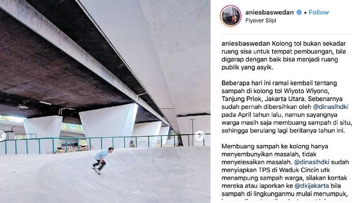 Seperti di AS, Anies Sulap Kolong Slipi Jadi Taman Skateboard