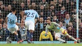 Gabriel Jesus sukses mencetak gol melalui eksekusi penalti pada menit ke-39 dan membuat Man City unggul 2-0 atas Wolves. (REUTERS/Jon Super)