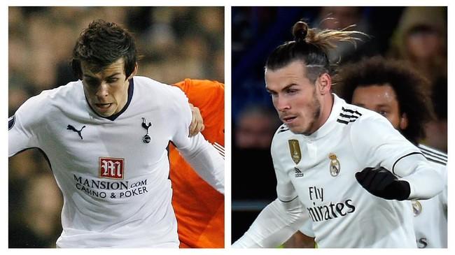 Gareth Bale punya perbedaan besar dalam 10 tahun terakhir. Bukan hanya sekadar dari posisi bek menjadi striker, gaya rambut pendek Bale kini berubah jauh. (AFP PHOTO / GLYN KIRK / JOSE JORDAN)