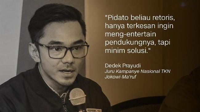 Dedek Prayudi, Juru Kampanye Nasional TKN Jokowi-Ma'ruf.