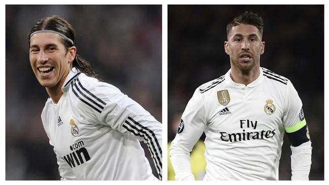 Sergio Ramos juga punya tampilan lebih dewasa setelah 10 tahun berselang. Ramos kini tak pernah lagi tampil dengan rambut gondrong yang dulu sempat jadi ciri khasnya. (AFP PHOTO / PIERRE-PHILIPPE MARCOU / Filippo MONTEFORTE)