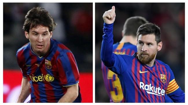 Perbedaan besar Lionel Messi jelas terletak pada gaya rambut yang kini pendek dengan kumiw dan berewok sedangkan Messi muda memiliki rambut lebih panjang tanpa kumis, jenggot, dan berewok. Soal skill, Messi tetap konsisten di level atas. (AFP PHOTO / AHMAD AL-RUBAYE / LLUIS GENE)
