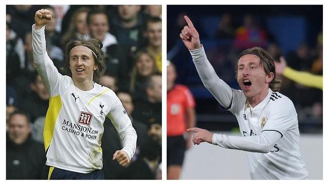 Luka Modric tetap konsisten dengan gaya rambut miliknya meski 10 tahun berselang. Tidak banyak perbedaan berarti dari tampilan Modric. (AFP PHOTO / GLYN KIRK / JOSE JORDAN)