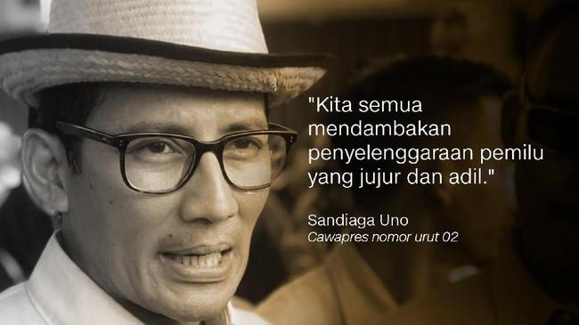 Sandiaga Uno, Cawapres nomor urut 02.