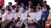 Tak ketinggalan, kubu Badan Pemenangan Nasional (BPN) Prabowo Subianto-Sandiaga Uno juga memberi dukungan pada debat capres perdana 2019.(CNN Indonesia/Safir Makki).