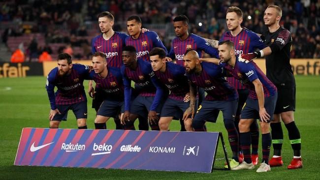 Barcelona menjamu Levante pada leg kedua babak 16 besar Copa del Rey di Stadion Camp Nou, Kamis (17/1) malam waktu setempat. Lionel Messi dan dimainkan pelatih Ernesto Valverde sejak awal laga. (REUTERS/Albert Gea)