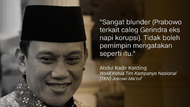 Wakil Ketua Tim Kampanye Nasional (TKN) Jokowi-Ma'ruf, Abdul Kadir Karding.