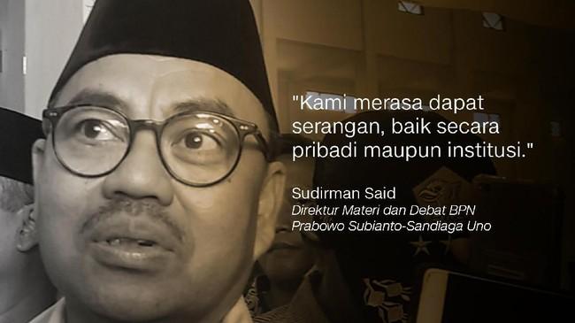 Direktur Materi dan Debat BPN Prabowo Subianto-Sandiaga Uno, Sudirman Said.