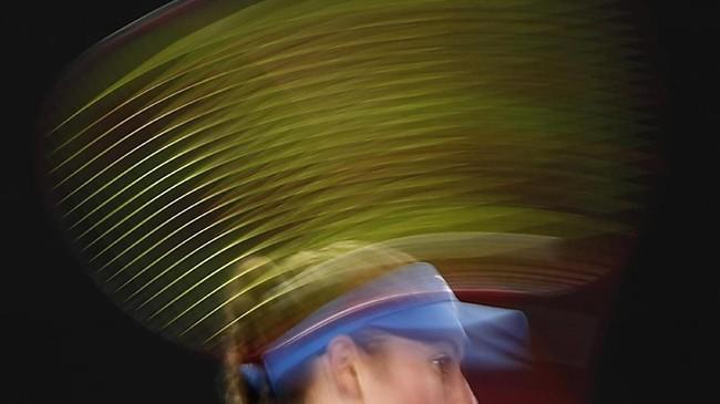 Petenis Tamara Zidansek asal Slovania dalam pertandingan Australian Open di Melbourne Park, Melbourne, Australia. (Reuters/Edgar Su)