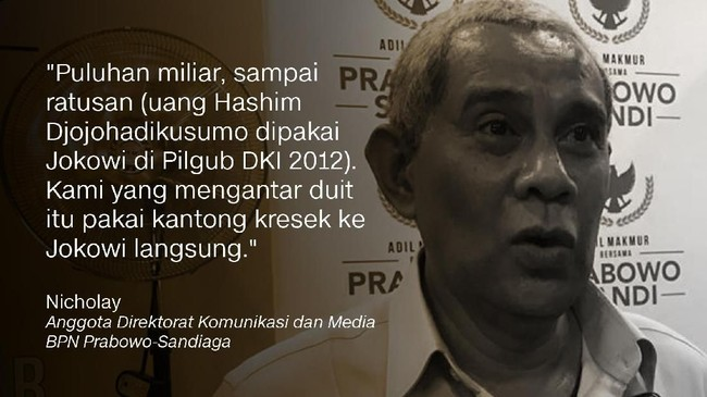 Anggota Direktorat Komunikasi dan Media BPN Prabowo-Sandiaga, Nicholay.