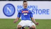 Arka Milik menjadi pemain tersubur Napoli di Serie A musim ini. Dari 17 kali tampil, pemain asal Polandia itu sudah mencetak 11 gol. (REUTERS/Alberto Lingria)