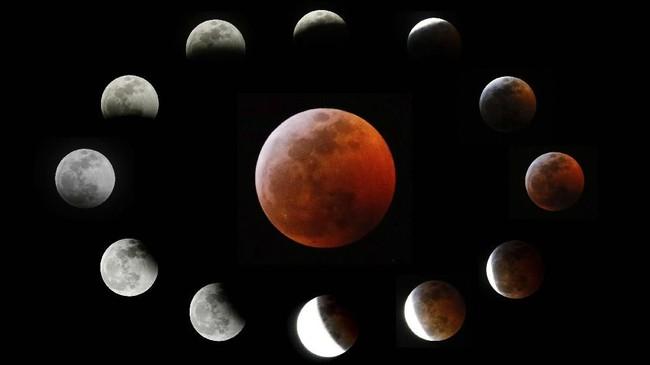 Seperti ini tampilan sekuen dari gerhana Bulan yang terjadi kemarin. Gerhana terjadi ketika Matahari-Bumi-Bulanbertemu di satu garis. Bulan menjadi gelap karena sinar matahari ke benda angkasa itu tertutup bayangan bumi.(AP Photo/Ringo H.W. Chiu)