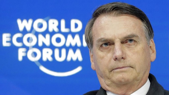 Jair Bolsonaro, President of Brazil, participates in a session at the annual meeting of the World Economic Forum in Davos, Switzerland, Tuesday, Jan. 22, 2019. (AP Photo/Markus Schreiber)