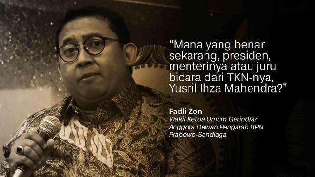 Fadli Zon, Wakil Ketua Umum Gerindra/Anggota Dewan Pengarah BPN Prabowo-Sandiaga.