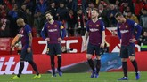 Barcelona kembali mengalami kekalahan pada laga Copa del Rey. Sebelum takluk dari Sevilla, Barca mengalami kekalahan dari Levante ketika menjalani leg kedua babak perdelapan final Copa del Rey. (AP Photo/Miguel Morenatti)