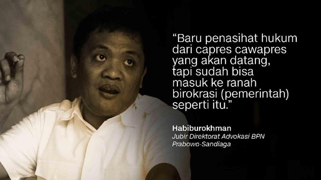 Habiburokhman, Jubir Direktorat Advokasi BPN Prabowo-Sandiaga.