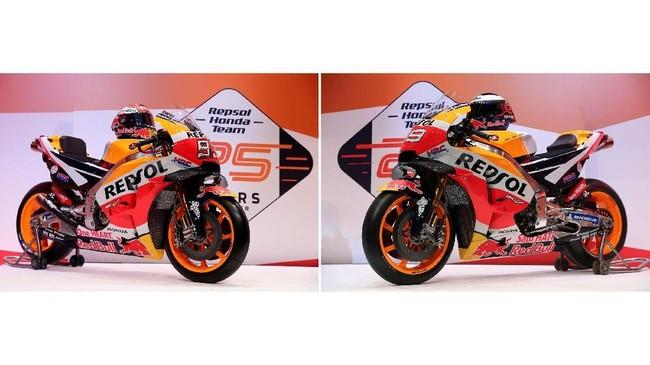 Sepeda motor Honda RC213V yang akan digunakan Marc Marquez (kiri) dan Jorge Lorenzo (kanan) di MotoGP 2019. Tidak ada perubahan berarti dalam livery motor Honda RC213V untuk MotoGP 2019. (REUTERS/Susana Vera)