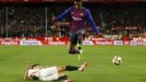 Nelson Semedo juga mendapat kesempatan tampil sejak awal menempati posisi bek kiri yang biasanya dihuni Jordi Alba. (REUTERS/Marcelo del Pozo)