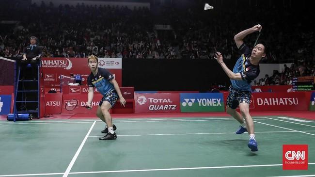 Kevin Sanjaya Sukamuljo/Marcus Fernaldi Gideon akan kembali berjumpa wakil Indonesia, Fajar Alfian/Muhammad Rian Ardianto di babak perempat final. (CNNIndonesia/Safir Makki)