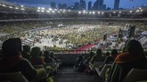 Peringatan hari Lahir (Harlah) ke-73 Muslimat Nahdlatul Ulama (NU) diperangi Minggu (27/1) Pagi di Gelora Bung Karno (GBK), Senayan, Jakarta. (ANTARA FOTO/Aprillio Akbar)