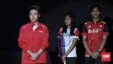 Liliyana Natsir di acara upacara perpisahan jelang final Indonesia Masters 2019 di Istora Senayan, Minggu (27/1). Liliyana memutuskan pensiun setelah lebih dari 20 tahun berkarier. (CNN Indonesia/Andry Novelino)