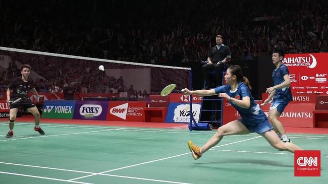 Di laga final Indonesia Masters 2019 Tontowi Ahmad/Liliyana Natsir menghadapi unggulan pertama asal China Zheng Siwei/Huang Yaqiong. (CNN Indonesia/Andry Novelino)