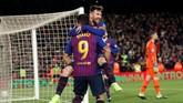 Lionel Messi mencetak golpenutup Barcelona dan menyudahi pertandingan dengan skor 6-1. (REUTERS/Albert Gea)