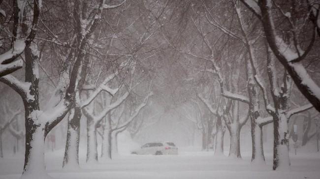 Di Chicago, balok-balok es mengapung di sungai pusat kota terbesar ketiga di Amerika Serikat. (REUTERS/Lindsay Dedario)