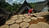 Warga menjemur padi hasil panen raya di halaman rumahnya di Kampung Naga, Kabupaten Tasikmalaya, Jawa Barat. (ANTARA FOTO/Adeng Bustomi)