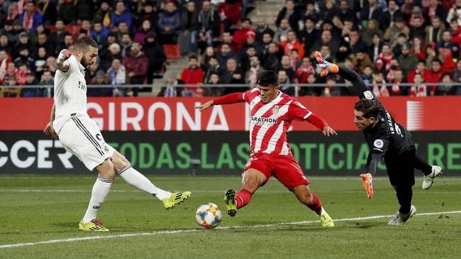 Real Madrid lolos ke semifinal Copa Del Rey dengan agregat kemenangan 7-3 atas Girona. Los Blancos berpeluang menghadapi Barcelona di babak semifinal. (REUTERS/Albert Gea)