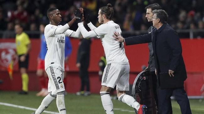 Gareth Bale masuk menggantikan Vinicius Junior pada menit ke-67 saat Real Madrid sedang unggul dua gol atas Girona. (REUTERS/Albert Gea)