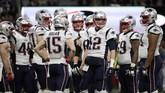 New England Patriots yang dipimpin Tom Brady (12) sebelum tampil di Super Bowl 2019. Ini adalah kali ketiga beruntun New England Patriots tampil di Super Bowl. (REUTERS/Mike Segar)