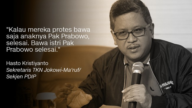 Sekretaris TKN Jokowi-Ma'ruf/Sekjen PDIP, Hasto Kristiyanto.