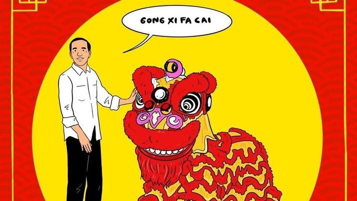 Presiden Joko Widodo tak ketinggalan memaknai perayaan Tahun Baru China atau Imlek 2019 yang jatuh pada Selasa.