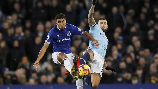 Pertandingan antara Evertonvs Manchester City di Stadion Goodison Park, Rabu (6/2) malam waktu setempat, menjadi laga perdana pekan ke-26 di Liga Inggris 2018/2019. (REUTERS/Phil Noble)