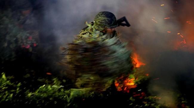 Ladang opium yang dibumihanguskan oleh tentara. (REUTERS/Carlos Jasso).