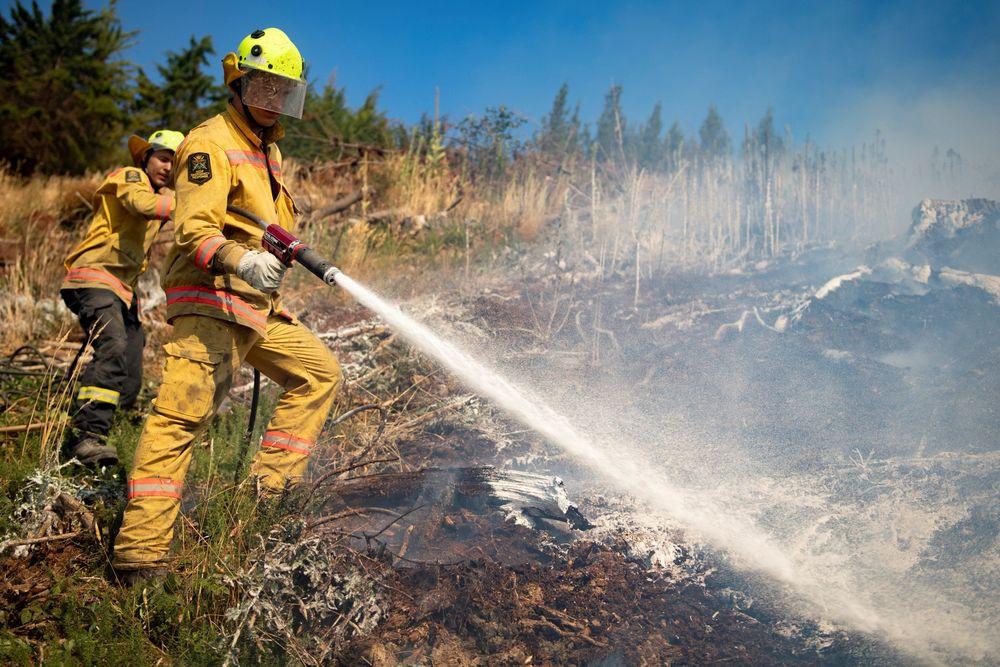 Petugas pemadam berusaha memedamkan api akibat kebakaran lahan di Richmond dekat Nelson, Pulau Selatan, Selandia Baru, (8/2/2019). Api mulai menjalar awal pekan lalu karena cuaca yang sangat panas melanda satu area hutan seluas 2.300 hektar. (Chad Sharman/New Zealand Defence Force/Handout via REUTERS)