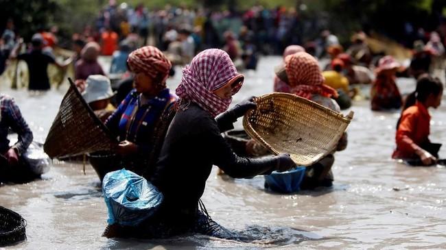 Sebagai sebuah negara lekat dengan pola kehidupan agraris, Kamboja rupanya masih menjaga 'kewarasannya' dalam mencari ikan. (REUTERS/Samrang Pring)