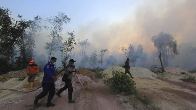 Sejumlah petugas gabungan dari BPBD,TNI, polisiberupayamemadamkan kebakaran hutan dan lahan dekat permukiman warga, di Kecamatan Dumai Barat, Kota Dumai, Dumai, Riau, 12 Februari 2019. (ANTARA FOTO/Aswaddy Hamid)
