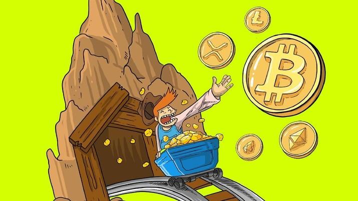 infografis 10 mata uang digital terpopuler dunia dan kapitalisasi pasar  di atas US$ 1 miliar