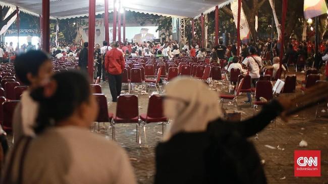 Kapolda Metro Jaya Irjen Pol Gatot Eddy Pramono menyebut suara ledakan di lokasi nonbar debat capres di Parkir Timur (Parkit) Senayan berasal dari suara petasan. (CNN Indonesia/Andry Novelino)