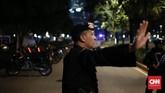 Ledakan tersebut dilaporkan terjadi di bagian pendukung paslon capres-cawapres nomor urut 01, Jokowi-Ma'ruf Amin, Minggu (17/2). (CNN Indonesia/Andry Novelino)