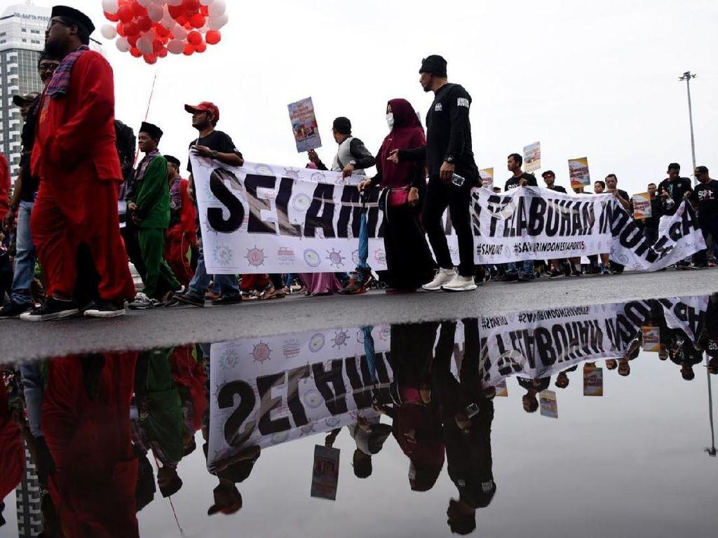Aksi karnaval tersebut untuk menarik perhatian publik terhadap perlawanan korupsi kontrak pelabuhan petikemas terbesar se-Indonesia JICT. Foto: dok. JICT