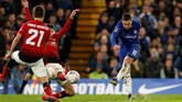 Chelsea hanya mencatatkan dua tembakan ke gawang lawan dalam laga melawan Man United. Kedua peluang itu tercipta di menit ke-11.(Action Images via Reuters/John Sibley)