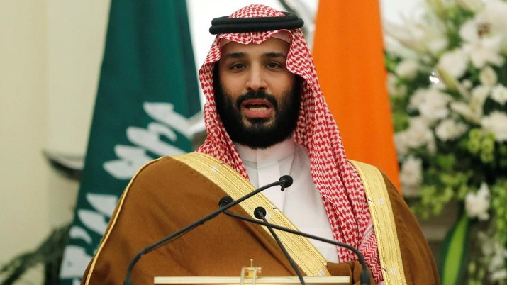 Saudi Arabia's Crown Prince Mohammed bin Salman speaks during a meeting with Indian Prime Minister Narendra Modi at Hyderabad House in New Delhi, India, February 20, 2019. REUTERS/Adnan Abidi