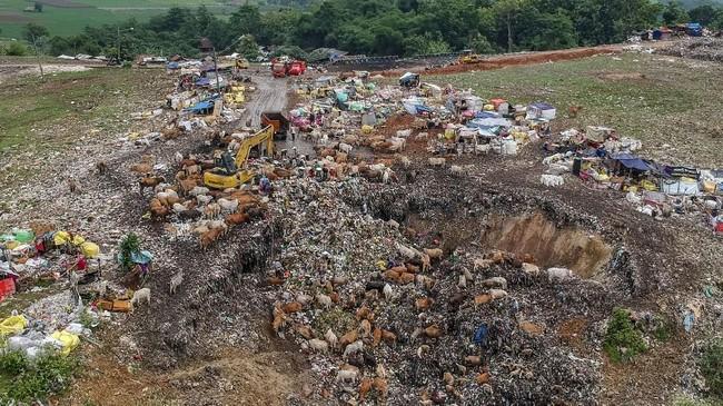 Tempat Pembuangan Akhir Sampah (TPAS) Cikolotok, Purwakarta, Jawa Barat, Senin (14/1). Pemerintah telah mengimbau agar ternak tidakdibiarkan mengkonsumsi sampah, karena berbahaya bagi kesehatan mereka juga manusia yang mengkonsumsinya di kemudian hari.(ANTARA FOTO/M Ibnu Chazar)