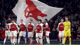 Secara keseluruhan, Arsenal unggul 3-1 atas BATE dan berhak melaju ke babak 16 besar Liga Europa bersama klub-klub top lain seperti Sevilla, Napoli, dan Chelsea. (REUTERS/Eddie Keogh)