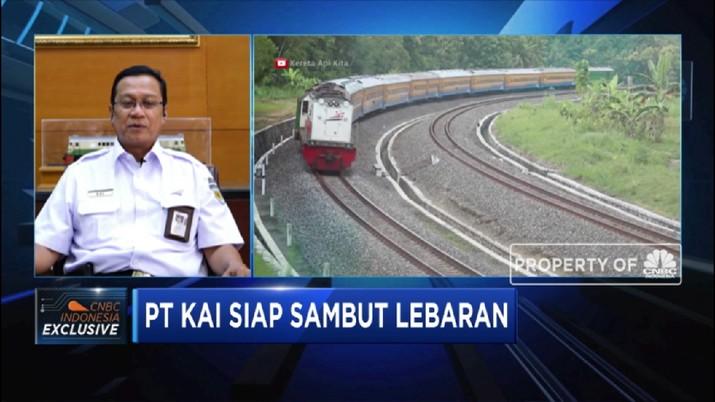 Direktur Utama PT Kereta Api Indonesia (KAI) Edi Sukmoro mengatakan tiket kereta lebaran hingga Selasa sore sudah terjual sebanyak 59%.